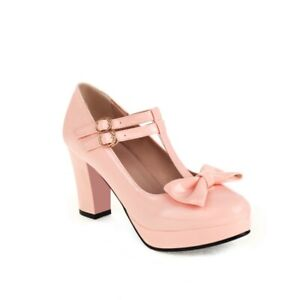 Cute Women Party Cosplay Pumps Block Heel Bow T-strap Casual Shoes  Colors 45/46