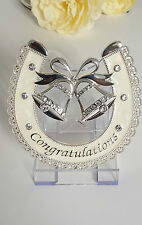LUCKY HORSESHOE WEDDING BELLS IVORY SILVER PLATED WEDDING GIFT BNIB LP28061