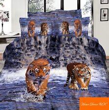 Parure housse de couette oreiller lit double tigres dans l'eau 3D 100 % coton