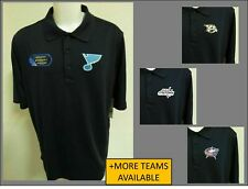 New Sz S-3XL Navy Blue Solid NHL Mens Performance Polyester #44C Polo Shirt