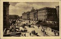 Berlin s/w Ansichtskarte 1918 gelaufen Blick auf den Schloßplatz Denkmal Tram