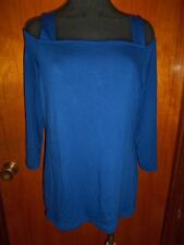 INC International Concepts Goddess Blue Tee Knit Cold Shoulder Top 2XL XXL NWT