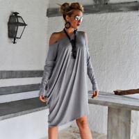 Women Slash Neck Long Sleeve Casual Wear Loose Above Knee Mini Dress S