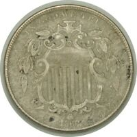 1868 5C Shield Nickel XF Details (environmental damage / weak date)   (080419)