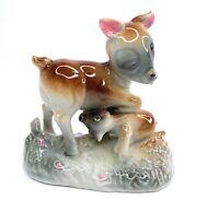 Vintage Ceramic Figurine Mother Doe Deer with Baby Fawn