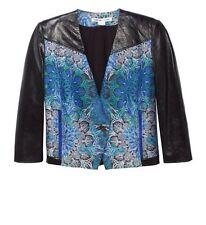 HELMUT LANG Medallion Boxy Jacquard Jacket Leather Sleeves Size 8 $995