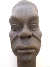 Sculpture bois représentant tête homme africain lampe Masque Congo 1930