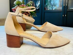 SOLE SOCIETY 'Katarina' Nude Suede Leather D'Orsay Point Heels Sz  41 / 9.5  NEW