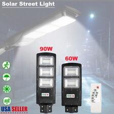 60/90W Outdoor Commercial LED Solar Street Light IP65 Dusk-Dawn PIR Sensor Lamp