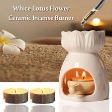 Ceramic White Lotus Flower Oil Burner Tea Light Candle Wax Melt Aromatherapy