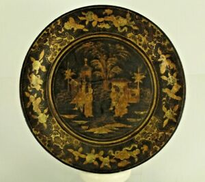 = Antique 18th c. Chinese Lacquered Wood Plate w. Gilt Figural Decoration