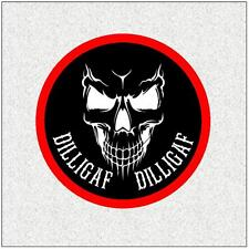 "DILLIGAF 4"" BIKER BADGE PRINTED SEW ON CLOTH BADGE SKULL"