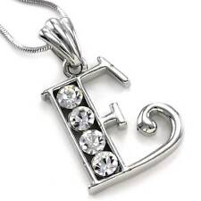 Alphabet Initial Letter E Pendant Necklace Charm Silver Tone Teen Ladies Jewelry