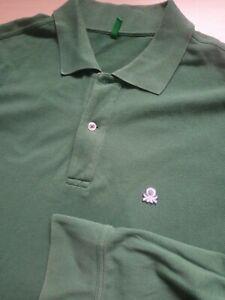 Mens Benetton Green Long Sleeve Cotton Polo Shirt Size L large