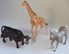 PLAYSKOOL Solid Plastic Animal Figure Lot Of 3: GIRAFFE, OX, HORSE