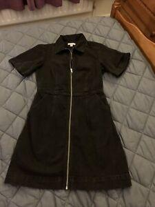Ladies Topshop Zip Front Black Denim Dress Size 10 Worn Once