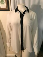 Ann Taylor White/Black Womens Size XL collared Neck full Sleeve Poly Blouse