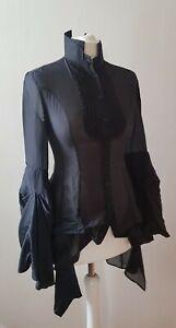*iconic* Original All Saints Jest Victorian Shirt Blouse 100% silk Uk 8 Us 4 Eu