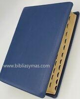 Biblia  De Estudio Letra Grande Diario Vivir Reina 1960 PIEL 100% GENUINA AZUL