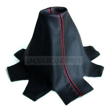 BLACK LEATHER WITH RED STITCHING GEAR STICK SHIFT LEVER COVER GAITER VW T5 VAN
