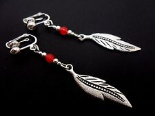 A PAIR TIBETAN SILVER RED JADE DANGLY  FEATHER THEMED CLIP ON  EARRINGS. NEW.
