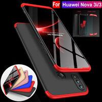 For Huawei Nova 3i/3 Note10 360° Protective Hybrid Armor Case Cover+Temper Glass