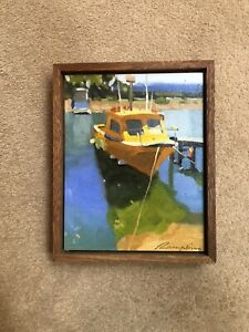 Original Painting On Canvas By Dirk Rampling. Colourful Mooring 2015