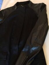 Nanette Lepore Black Hidden Zipper Coat with Leather Sleeves & Detailing - 0 XS