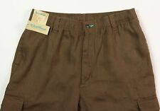 Men's CARIBBEAN Brown LINEN Drawstring Pants 34x32 NEW NWT Cargo NICE!