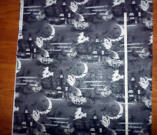 New Halloween Scenes Haunted House Ghosts Glitter Cotton Fabric Traditions - bty