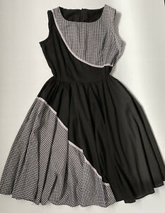 Vintage Square Dance Dress Co. Black and White Gingham 50s Dress Size 10-12