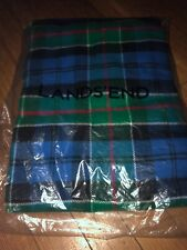 New Lands End Wool Blanket Blue Plaid Throw Blanket Green Red