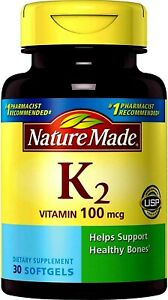 Nature Made VITAMIN K2 100 mcg 30 Softgels Supports Healthy Bones  (exp. Aug 22)