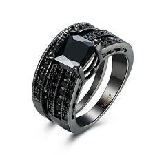 18K Gold Plated Black Gun P Fashion Set Ring  AAA Zirconia Women B344