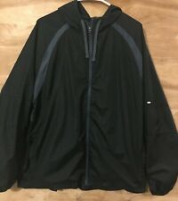Starter XL windbreaker jacket zipper front drawstring hood 2 pocket black