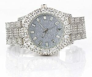 Men Iced Watch Bling Rapper Simulate Diamond Lab Stone Metal Band Silver Luxury