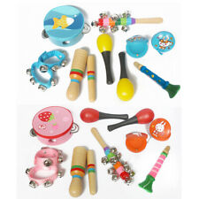10PCS Wooden Kids Music Instruments Kit Toys Children Toddlers Percussion Sets