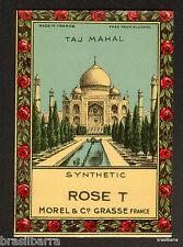 "10 ETIQUETTES PARFUM : TAJ MAHAL de  MOREL & Cie GRASSE ""Rose T"""