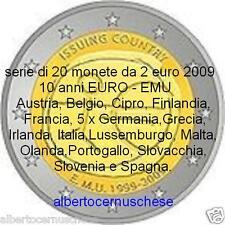 20 x 2 euro 2009 10 anni 40 EURO EMU UEM tutti paesi all nations tous les pays