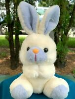 "Vintage 1988 Dan Dee Imports White Blue Bunny Rabbit 9"" Plush Stuffed Animal Toy"