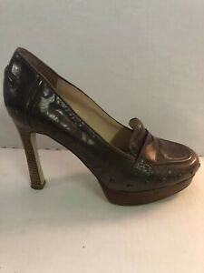 Enzo Angiolini Balinia Brown Leather Platform Heels Loafer Shoe Size 9