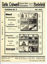 Original-Werbung Gebr. CRÜWELL Bielefeld Crüwell Tabak Zigaretten 1933