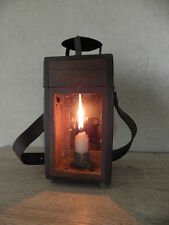 OLD Antique LAMP LANTERN wood light PRIMITIVE ww1 photography country french