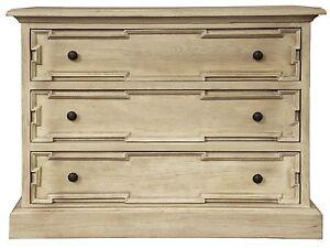 "42"" Long Chest Dresser 3 Drawer Solid White Oak Wood Vintage Gray Finish"