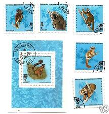 MALAGASY - 1990 - animals LEMURS-Sc-987-92 USED full SET SOUVENIR SHEET