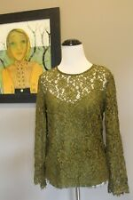 NEW J Crew Lace Top with Cami Burnished Moss Green Sz 2 XS H2200