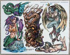"Tattoo Studio Shop Flash Single By William Webb Mermaid Grim Reaper 11X14"" Print"