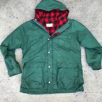 Vintage Mens L.L. LL Bean Green Lined Jacket Coat L Large Baxter State Parka