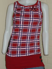 NEW LUXIRIE TANK TOP RED PLAID PUNK GOTH ANARCHY ANARCHIST HEART TUNIC SMALL