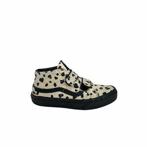 Vans Mid Sk8 Hi Sneaker Cheetah Hearts Re-Issue Girls Size 2 Hoop And Loop